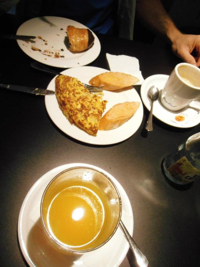 Breakfast! Spanish tortilla, chocolate croissant, FRESH orange juice, and espresso