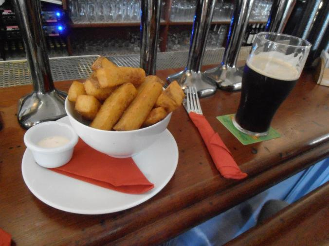 chunky chips and chili mayo with Trouble Brewing...Dark Arts Porter
