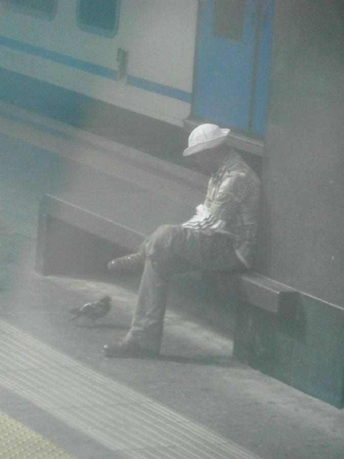 I took this blurry picture from our train window of this dude hanging out with a one legged pigeon.