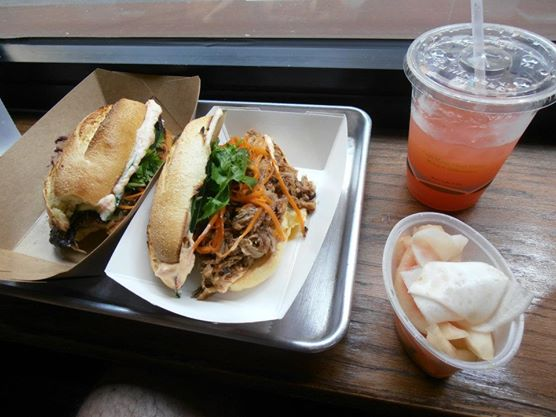 Num Pang. A mushroom and a pork sammich with Blood Orange lemonade and turnip & watermelon rind pickles